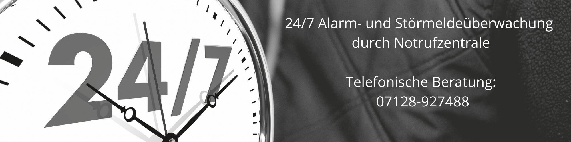 24/7 Alarmüberwachung durch Notrufzentrale